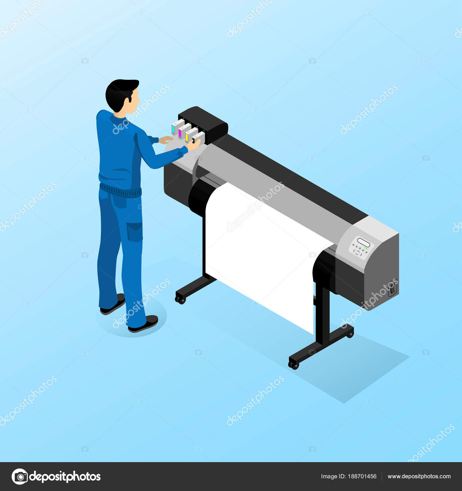 working machine large format printing stock vector c dilendom 188701456 https depositphotos com 188701456 stock illustration working machine large format printing html
