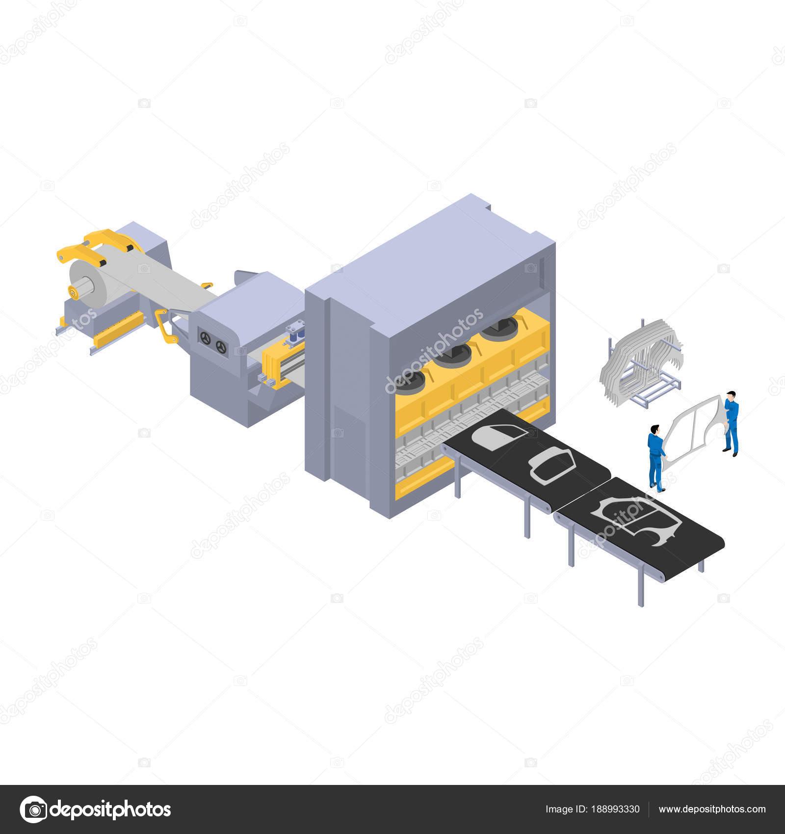 Production Cars Factory Line Production Car Body Parts Isometric ...
