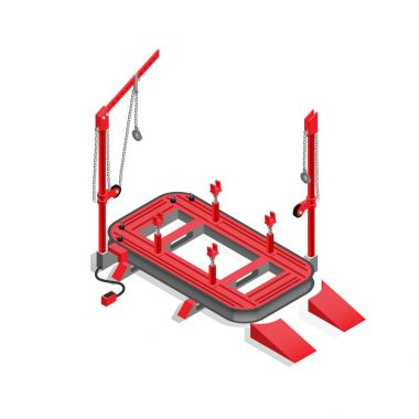 Stapel grooving, equipment for car service, isometric image