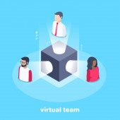 izometrický vektorový obraz na modrém pozadí, černá krychle se světelnými paprsky a ikonami lidí v nich, virtuální tým
