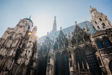 View on gothic St. Stephen's Cathedral in Vienna, Austria blue sky background