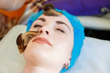 The cleansing facial at the beautician by snails Achatina. The girl at the beautician does Facials and skin rejuvenation of the face snails Achatina.