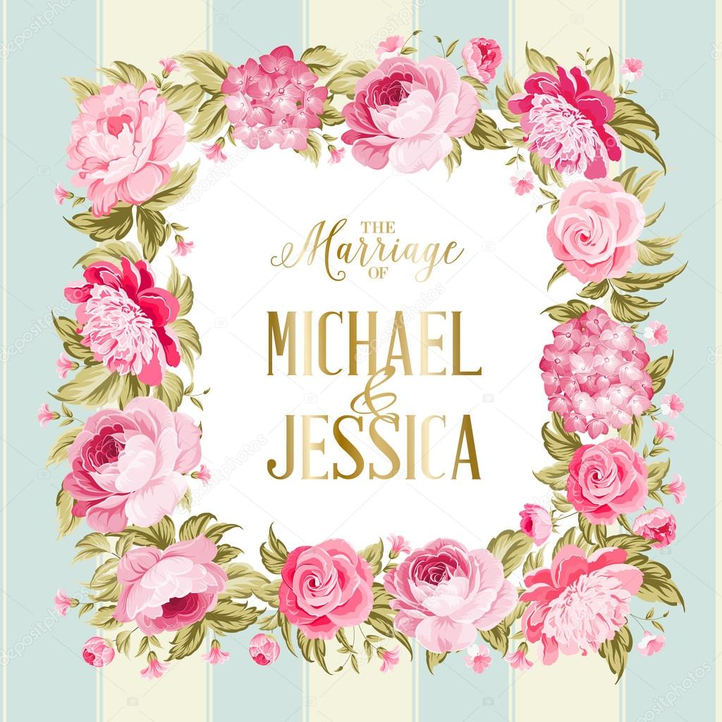 Wedding invitation card stock vector kotkoa 127194198 border of red flowers in vintage style marriage invitation card with custom sign and flower frame over tile blue background vector illustration stopboris Gallery