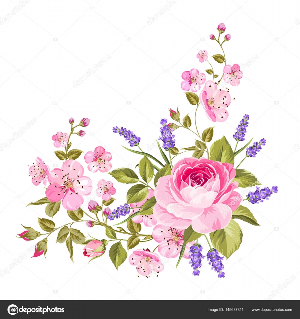 Spring flowers garland stock vector kotkoa 145637811 blooming spring flowers garland of purple roses sakura and lavender label with rose and lavender flowers vector illustration vector by kotkoa mightylinksfo Gallery
