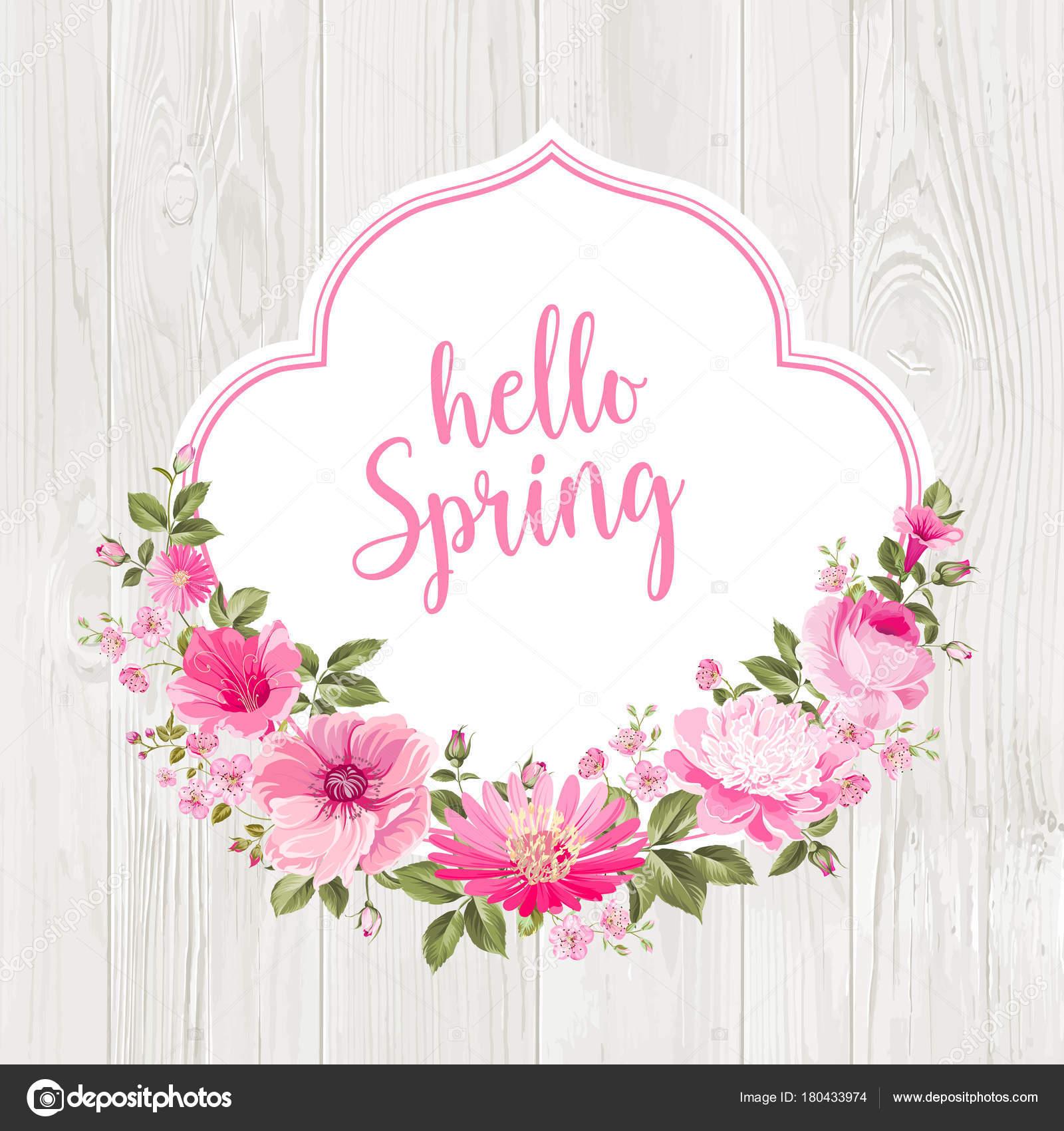 Hello Spring Card Over Gray Wooden Texture. U2014 Stock Vector