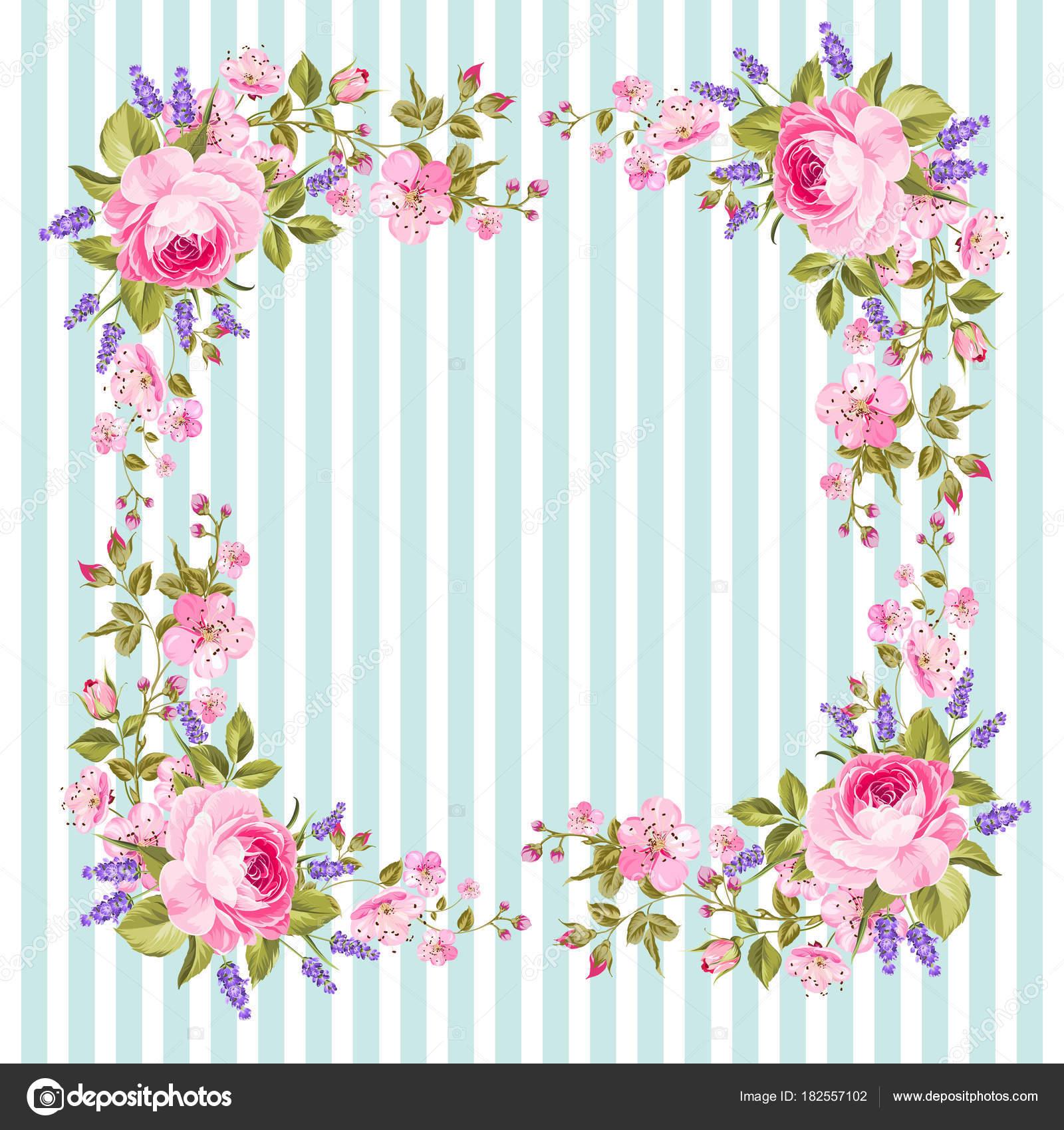 marco de flores para la tarjeta de la invitación vector de stock