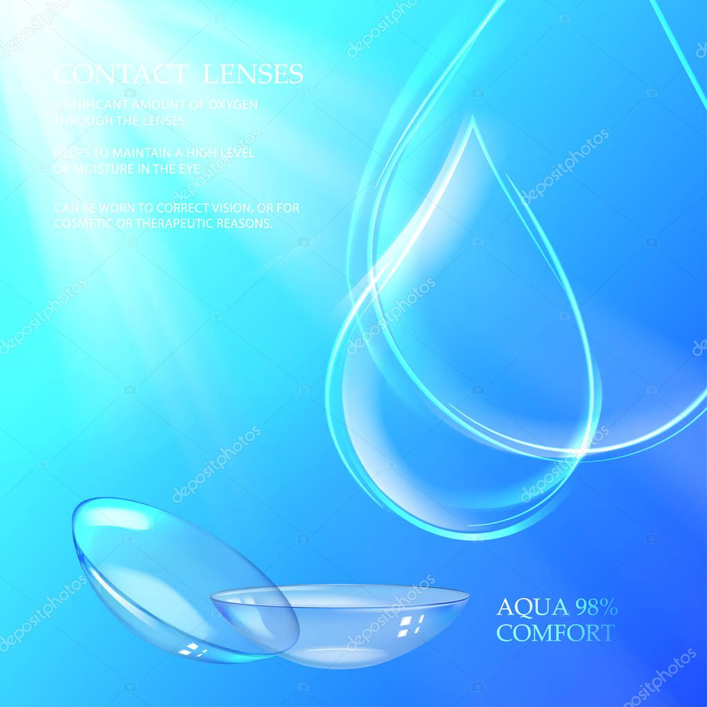 Illustration of rain drop and lenses.
