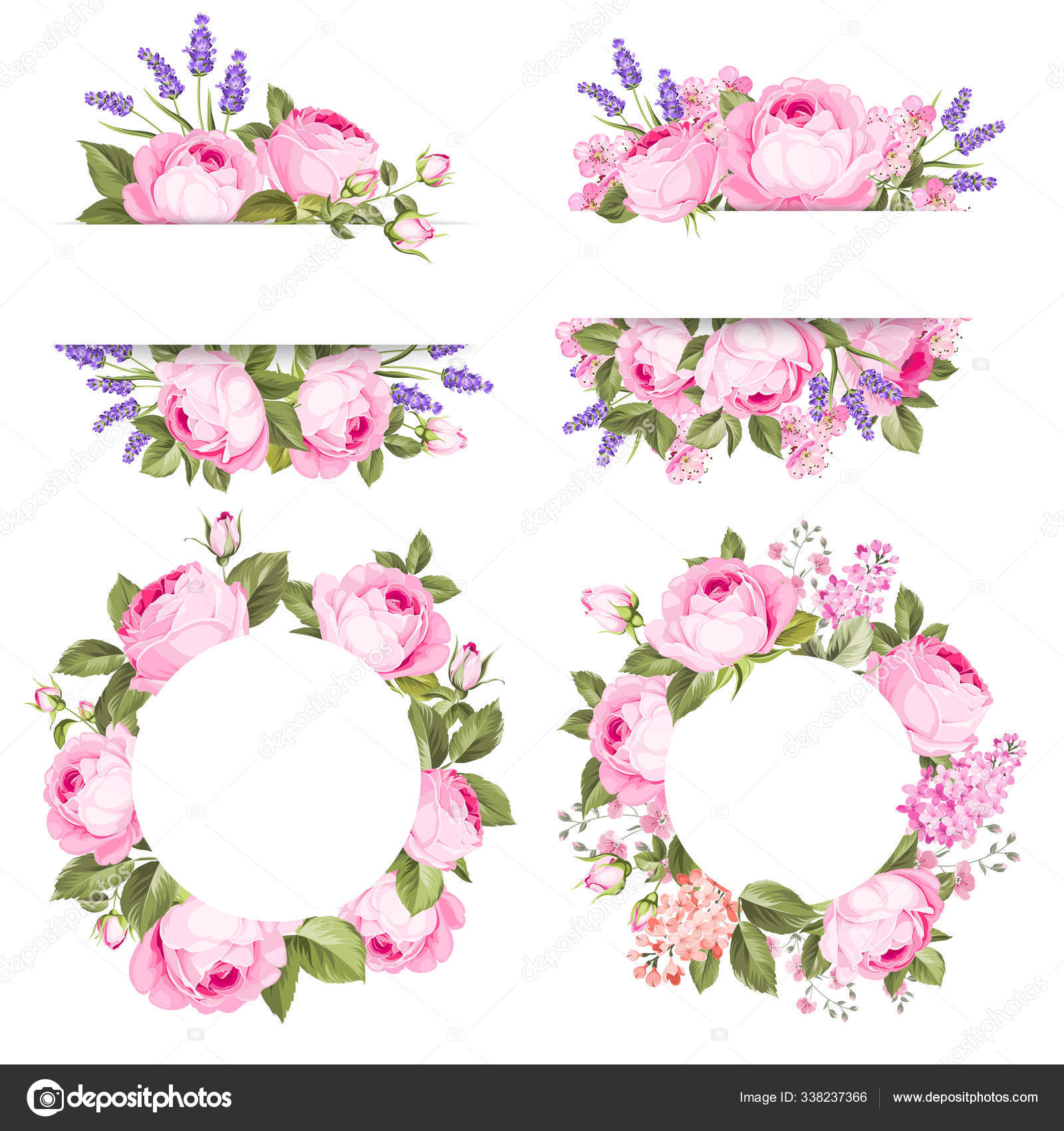Bunga Mawar Vintage Ditata Di Atas Latar Belakang Putih Bungkusan Bunga Musim Panas Pernikahan Koleksi Bunga Dari Lavender Cat Air Kumpulan Karangan Bunga Dengan Mawar Dan Bunga Lavender Stok Vektor C