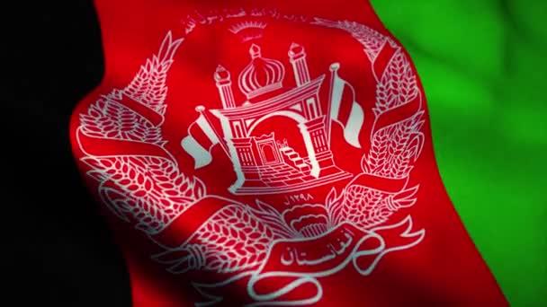 Afghanistan flag waving. National flag Islamic Republic of Afghanistan. Sign of Afghanistan seamless loop animation. 4K