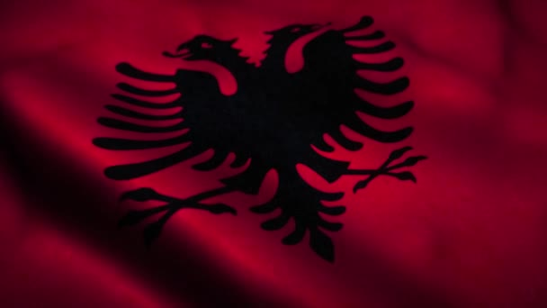 Albania flag waving in the wind. National flag of Albania. Sign of Albania seamless loop animation. 4K
