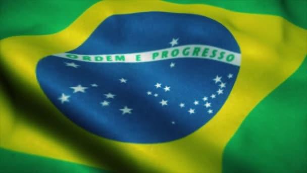 Brazil flag waving in the wind. National flag of Brazil. Sign of Brazil seamless loop animation. 4K
