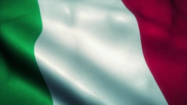 Italy flag waving in the wind. National flag of Italy. Sign of Italy seamless loop animation. 4K