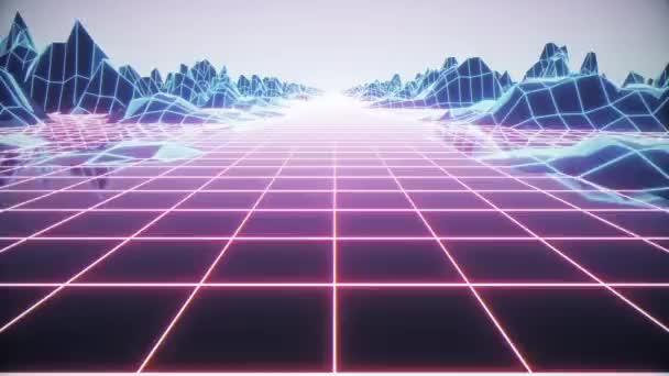 Loop Retro futurisztikus háttér felvételek 1980-as évek stílusban. Digitális táj a kibervilágban