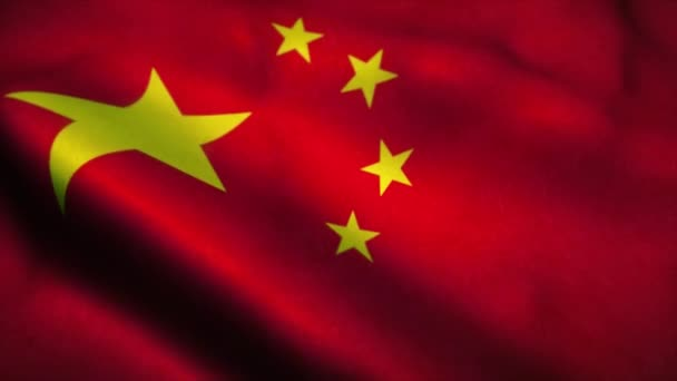 China flag waving in the wind. National flag of China. Sign of China seamless loop animation. 4K