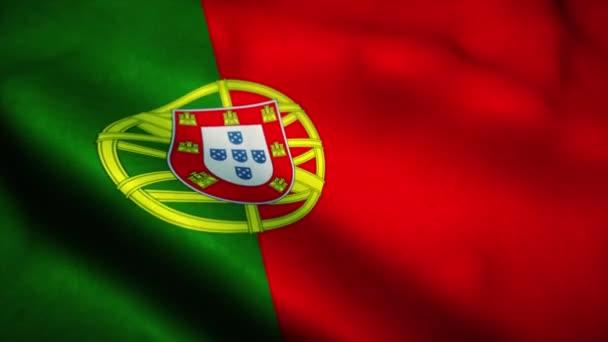Portugál zászló lengett a szélben. Portugália nemzeti lobogója. Portugália zökkenőmentes hurok animáció jele. 4k