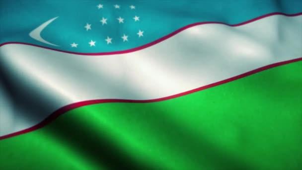 Uzbekistan flag waving in the wind. National flag of Uzbekistan. Sign of Uzbekistan seamless loop animation. 4K