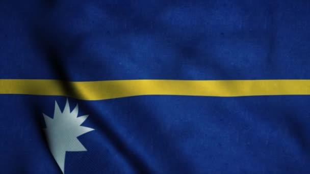 Nauru flag waving in the wind. National flag of Nauru. Sign of Nauru seamless loop animation. 4K