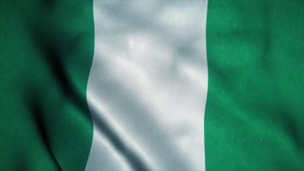 Nigeria flag waving in the wind. National flag of Nigeria. Sign of Nigeria seamless loop animation. 4K