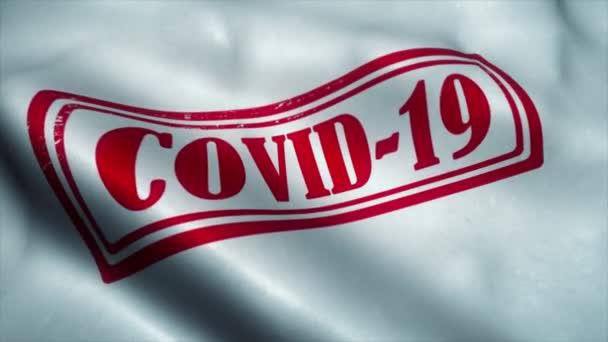 Covid-19-es zászló lengett a szélben. Coronavirus járvány koncepció. Coronavirus jele