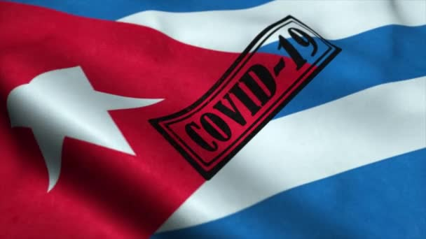 Covid-19 stamp on the flag of Cuba. Coronavirus concept