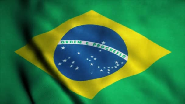 Brazil flag waving in the wind. National flag of Brazil. Sign of Brazil seamless loop animation. 4K