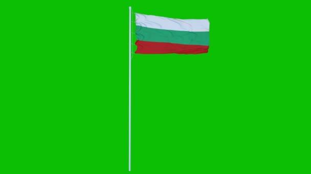 Bulgaria Flag Waving on wind on green screen or chroma key background. 4K animation