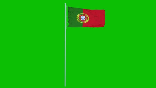 Portugália zászló integetett a szél a zöld képernyőn, vagy chroma kulcs háttér. 4K animáció