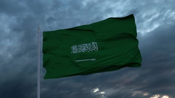 Realistic flag of Saudi Arabia waving in the wind against deep heavy stormy sky