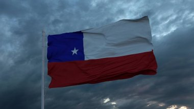 Realistic flag of Chile waving in the wind against deep heavy stormy sky. 3d illustration