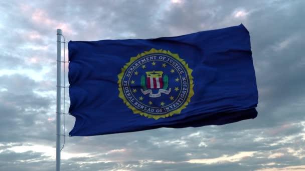 FBI-Flagge der Vereinigten Staaten weht im Wind. Zeichen der nahtlosen Schleifenanimation des US-FBI