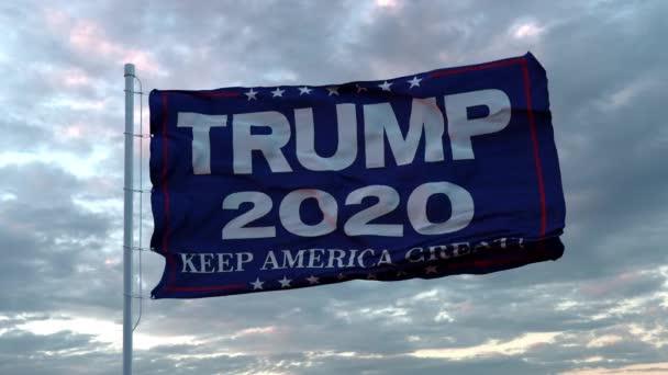 Fotorealistická animace vlajky s logem prezidentské kampaně Donalda Trumpse vlnícím se ve větru. Bezešvé smyčky. Rozlišení 4K