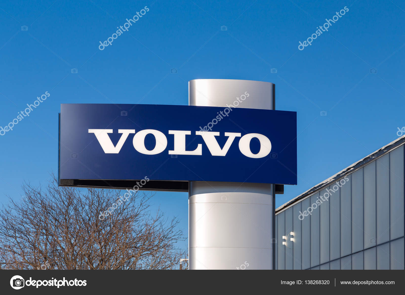 volvo automobile dealership and sign – stock editorial photo