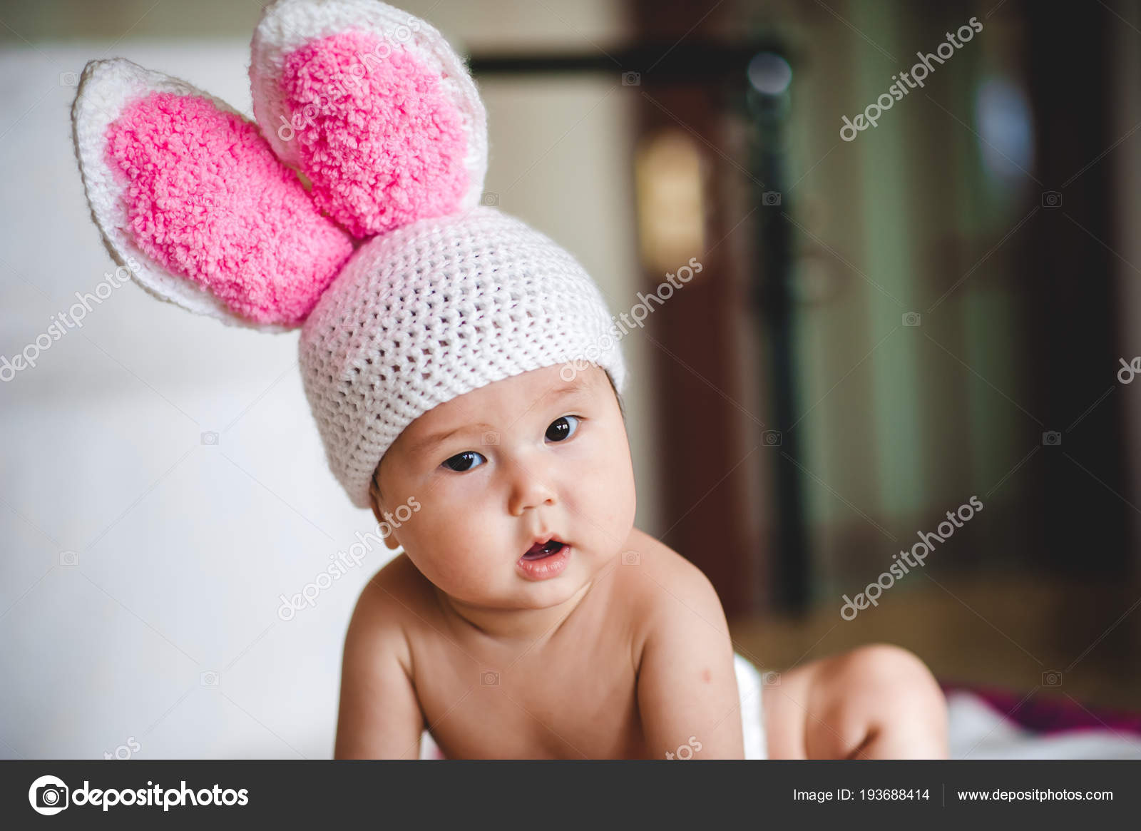 7669a1641dd Portrait Asian Baby Hat Rabbit Ears White Background — Stock Photo ...