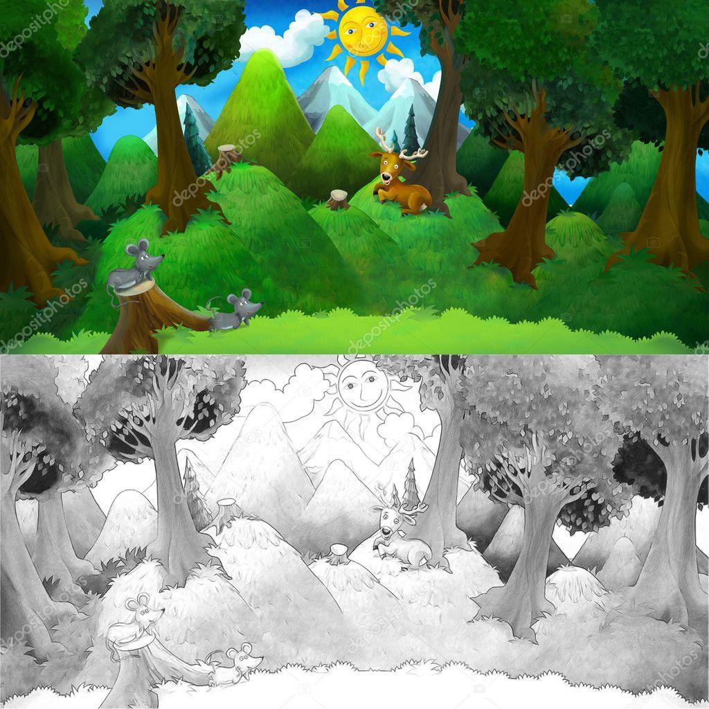 Escena de naturaleza colorida de dibujos animados — Foto de stock ...
