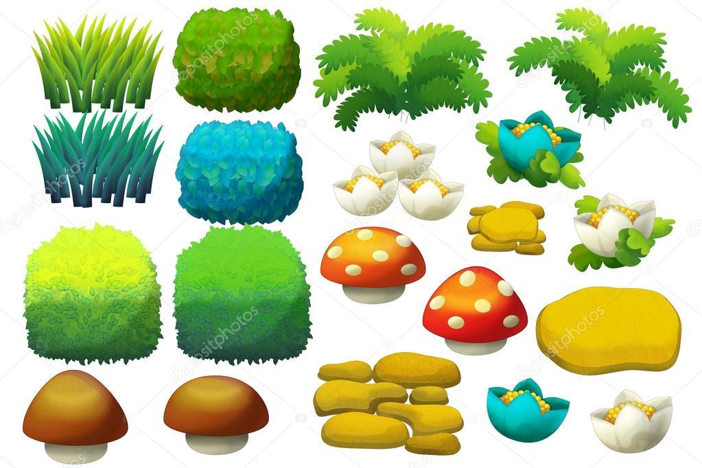 Dibujos animados conjunto de elementos de jard n flores for Arbustos de jardin fotos