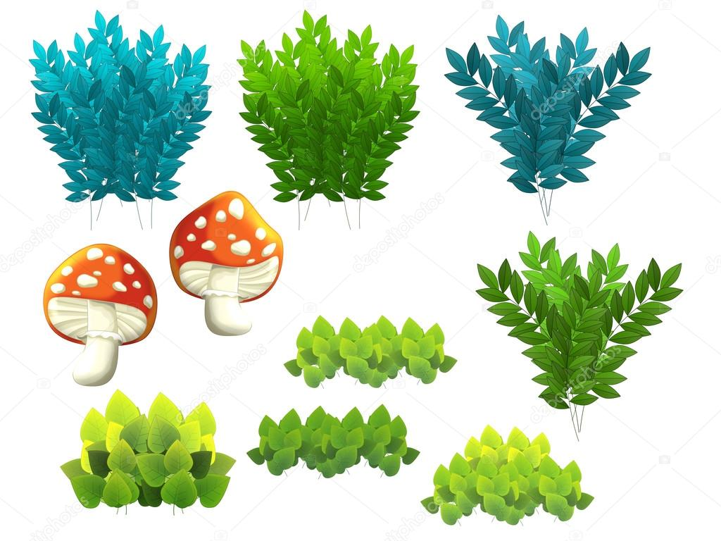 Cartoon set of garden elements - bushes leafs and mushrooms - isolated - illustration for children