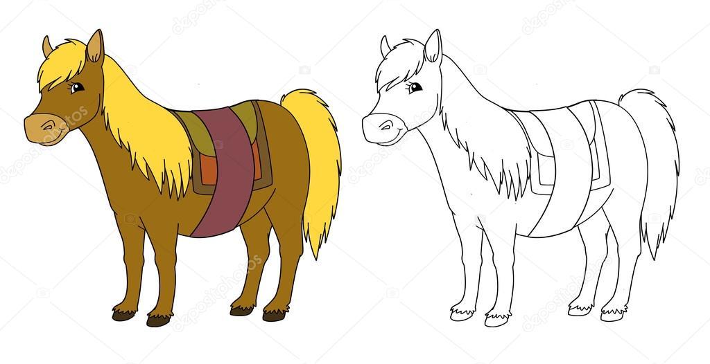 Cartone animato cavallo isolato con pagina for Disegni da colorare dei cavalli