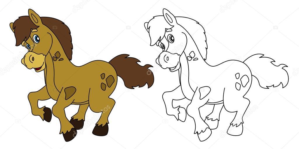Dibujos animados de caballo - aislada - con página - ilustración ...
