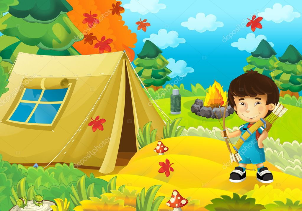Cartoon happy and funny boy - with bow and arrows - archer - isolated - illustration for children