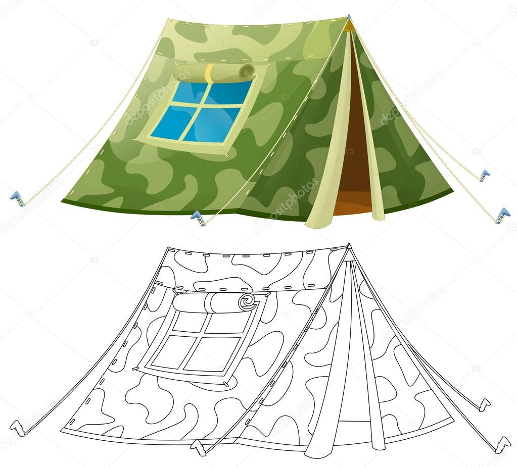 Cartoon colorful tent - with coloring page - isolated - illustration ...
