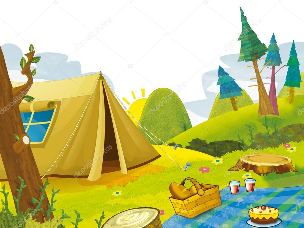 cartoon scene of camping in the mountains tent illustration for children stock photo