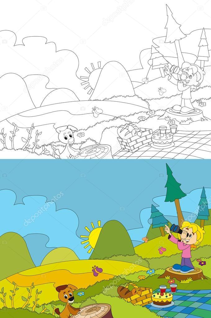 Cartoon Szene Der Camping Den Bergen Picknick Mädchen Und Ihr ...