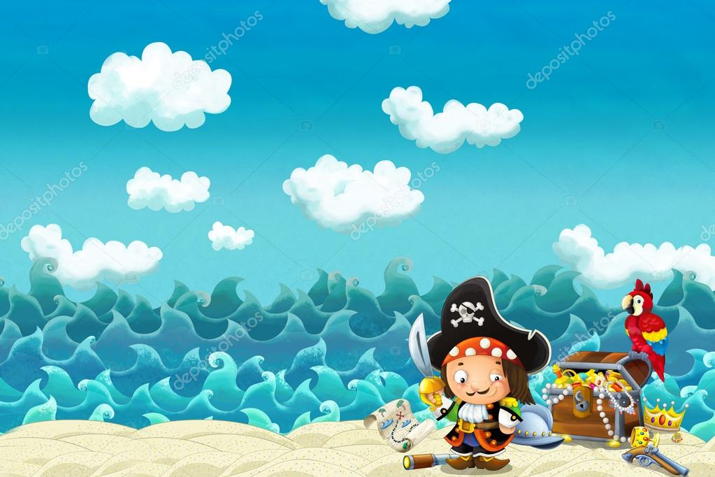 Cartoon scene of beach near the sea or ocean stock photo cartoon scene of beach near the sea or ocean illustration for children happy and funny scene for different fairy tales photo by illustratorhft voltagebd Gallery