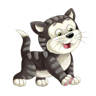 Cartoon happy cat is walking and looking - artistic style - isolated - illustration for children