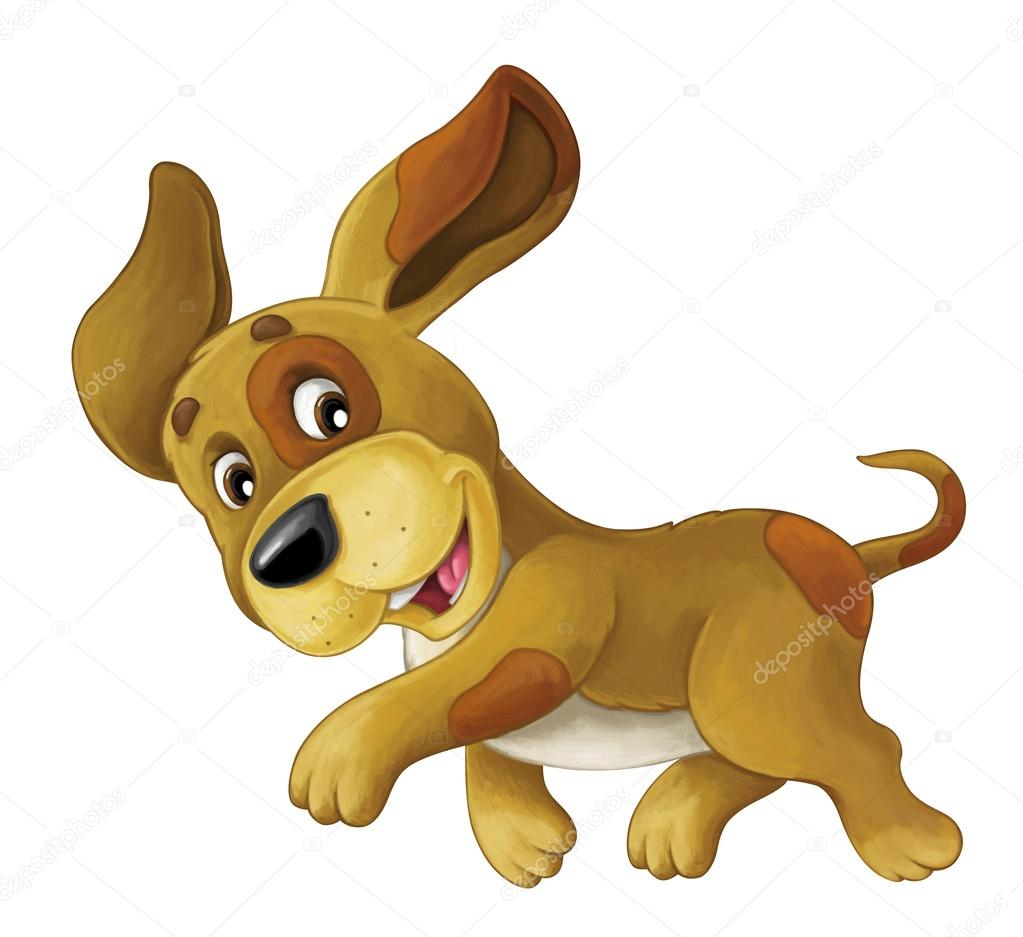 Cartoon Happy Dog Is Jumping And Looking Stock Photo C Illustrator Hft 127644444