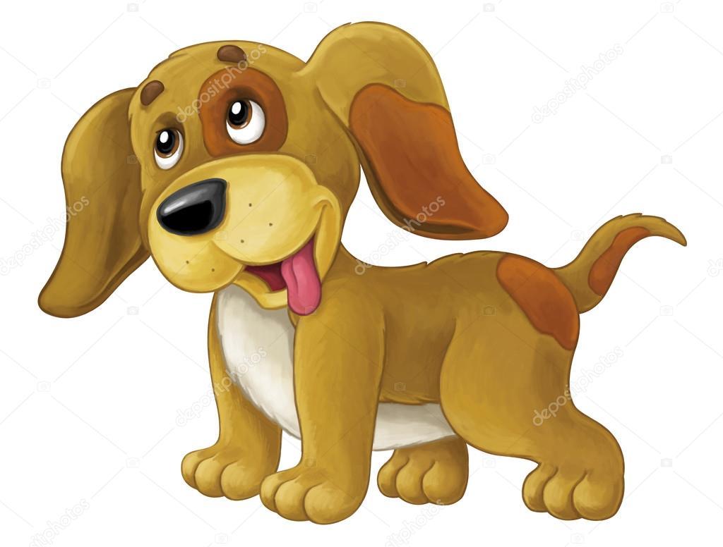 Perro Feliz De Dibujos Animados Es Permanente Y Busca