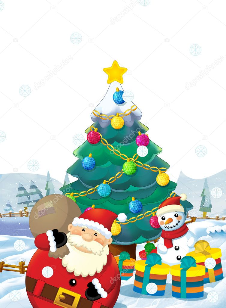 cartoon santa claus with presents standing and smiling gifts happy snowman christmas tree - Santa Claus Presents