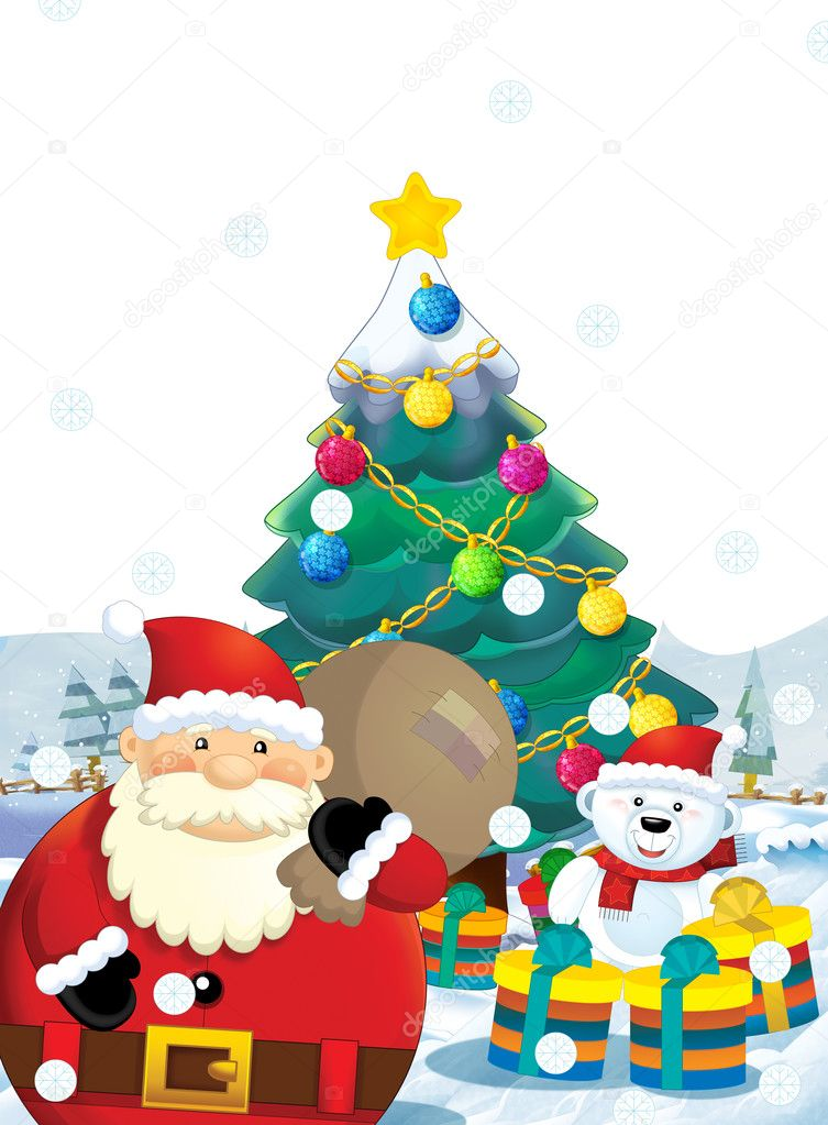 Cartoon Santa Claus With Presents Standing And Smiling Gifts