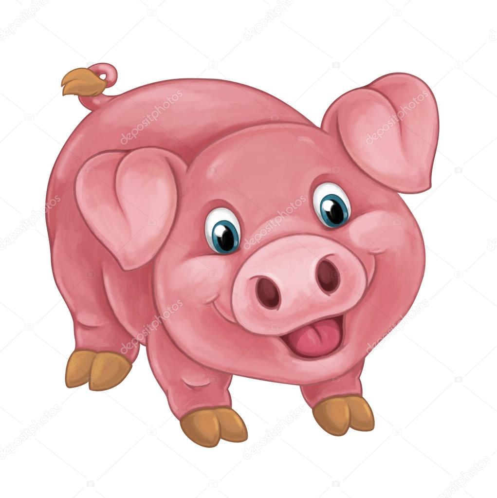 Happy cochon est debout regardant et souriant - Dessin cochon debout ...