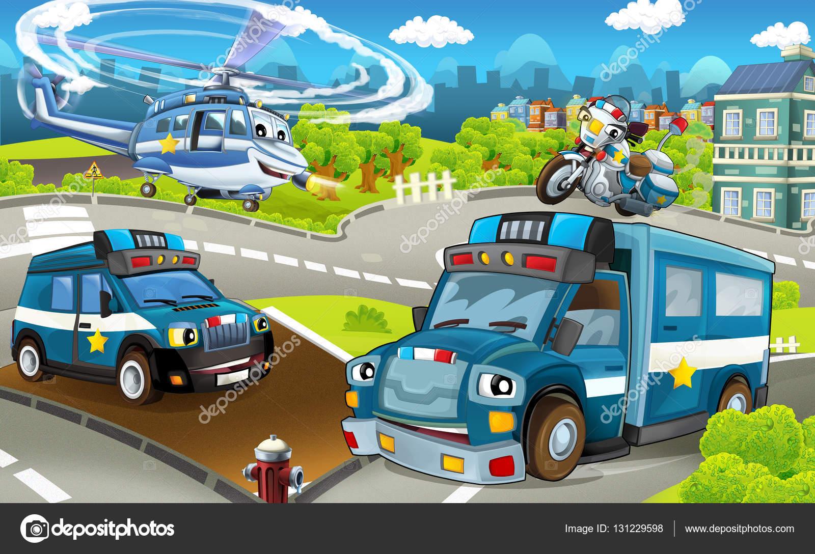 Macchine della polizia camion moto ed elicottero u foto stock